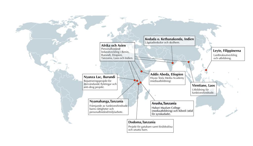 Karta över biståndsprojekten FSPM 2015 - 2017 NY5