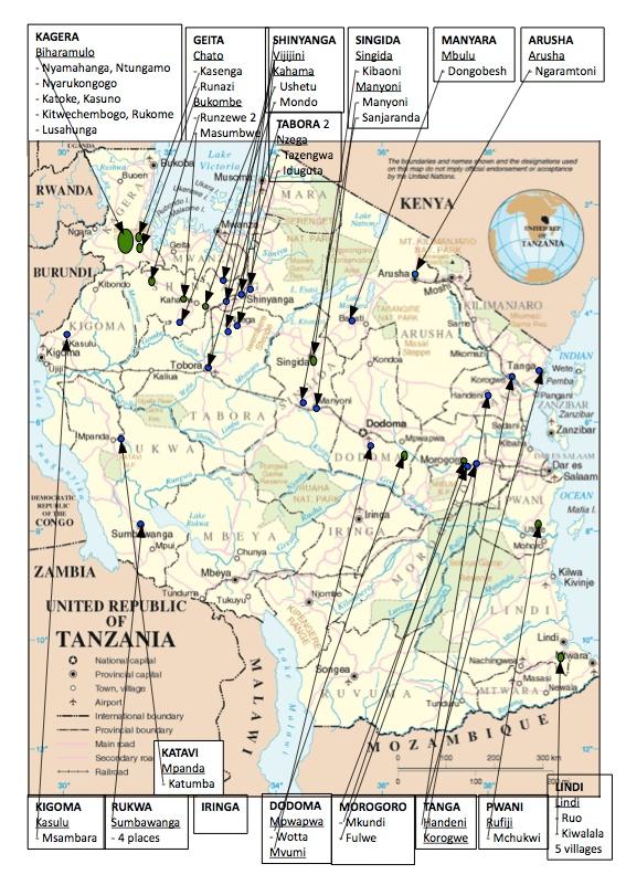 De blå markeringarna visar var miljöseminarier har hållits och de gröna visar var man har hållit seminarier och/eller startat plantskolor och planterat träd sedan 2010. Klicka för att få kartan större.